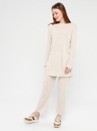 Cotton - Beige - Loungewear Suits - Meliana