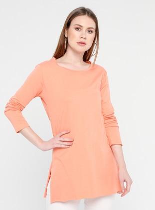 Salmon - Crew neck - Cotton - Tunic
