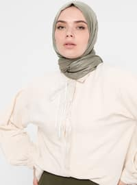 Ecru - Point Collar - Linen - Viscose - Blouses