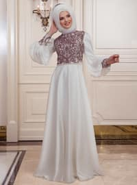 Ecru - Fully Lined - Crew neck - Muslim Evening Dress