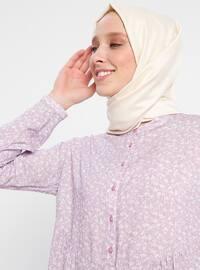 Lilac - Floral - Crew neck - Viscose - Tunic