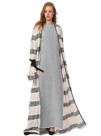 Black - White - Stripe - Abaya