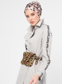 Gray - Leopard - Unlined - Shawl Collar - Cotton - Topcoat