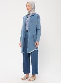 Blue - Unlined - Point Collar - Cotton - Denim - Topcoat