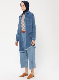 Blue - Indigo - Unlined - Point Collar - Cotton - Denim - Topcoat