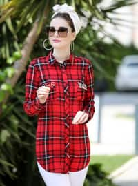 Maroon - Plaid - Point Collar - Viscose - Tunic