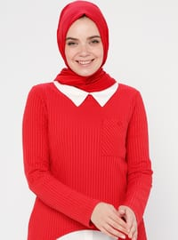Red - Point Collar - Tunic