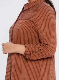 Tan -  - Stripe - Point Collar - Plus Size Tunic