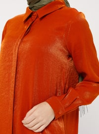 Terra Cotta - Point Collar - Viscose - Tunic