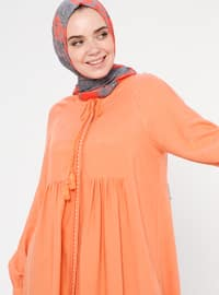 Orange - Crew neck - Viscose - Acrylic - Tunic