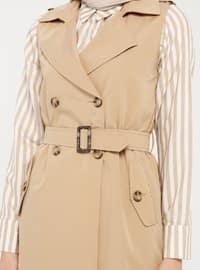 Camel - Unlined - Shawl Collar - Cotton - Vest