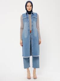 Blue - Indigo - Unlined - Point Collar - Cotton - Denim - Vest
