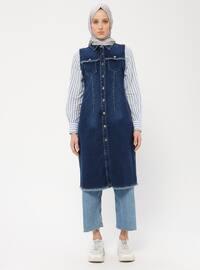Navy Blue - Unlined - Point Collar - Cotton - Denim - Vest