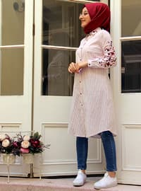 Red - Stripe - Point Collar - Blouses
