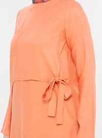 Orange - Crew neck - Viscose - Tunic