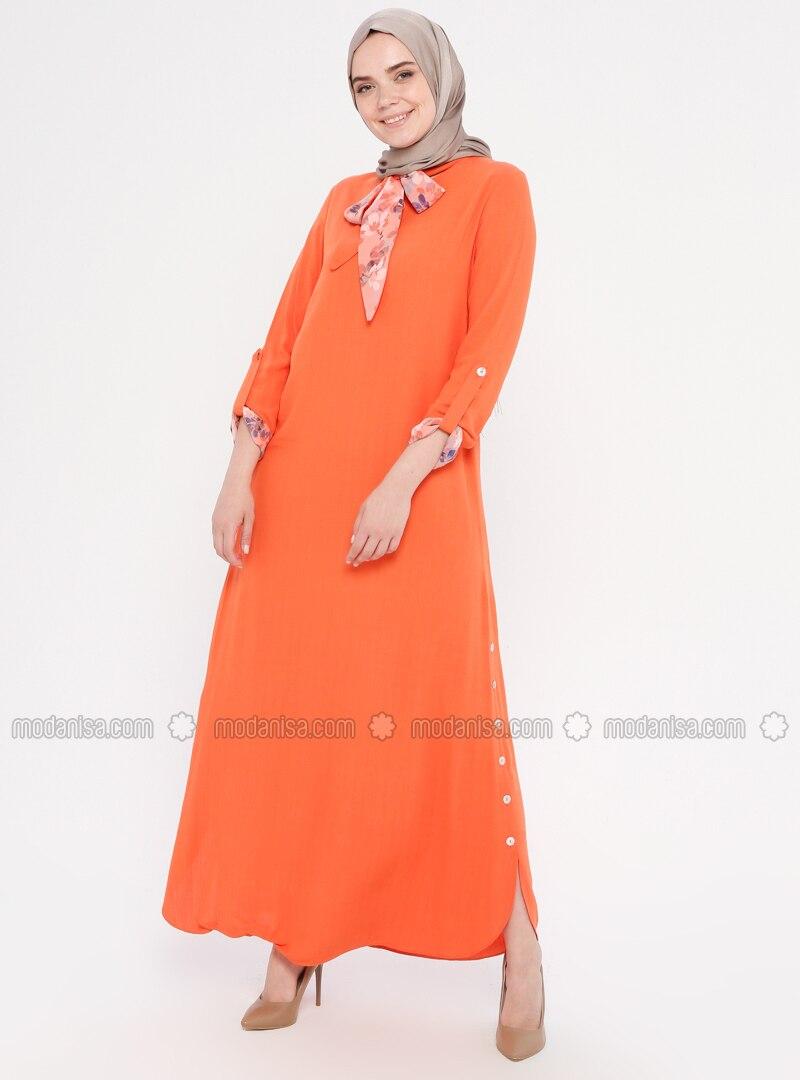 Orange - Fully Lined - Viscose - Dress