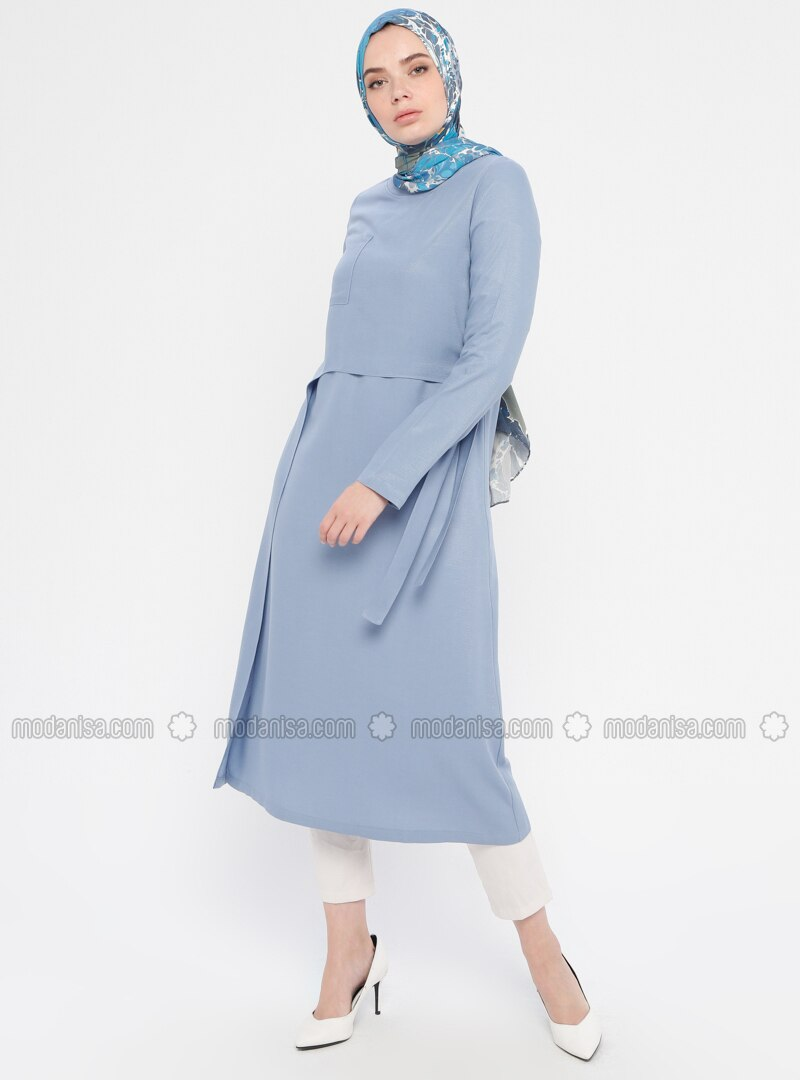 Blue - Crew neck - Viscose - Tunic
