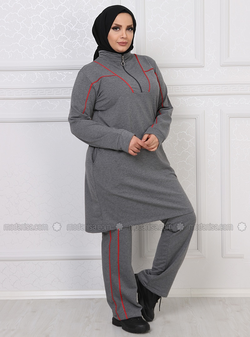 popular stores discount outlet store Anthracite - Stripe - Combed Cotton - Plus Size Tracksuit