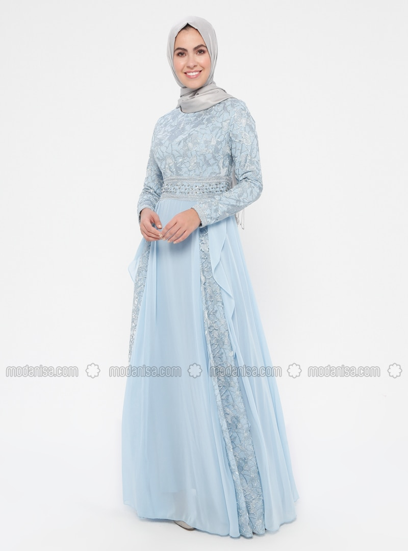 Blue - Multi - Fully Lined - Crew neck - Cotton - Muslim Evening Dress