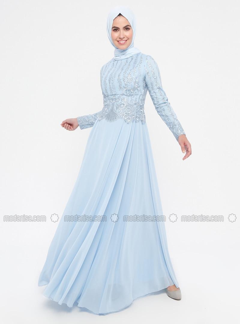 1133e537d1c84 Dantelli Payet Detaylı Abiye Elbise - Bebe Mavi