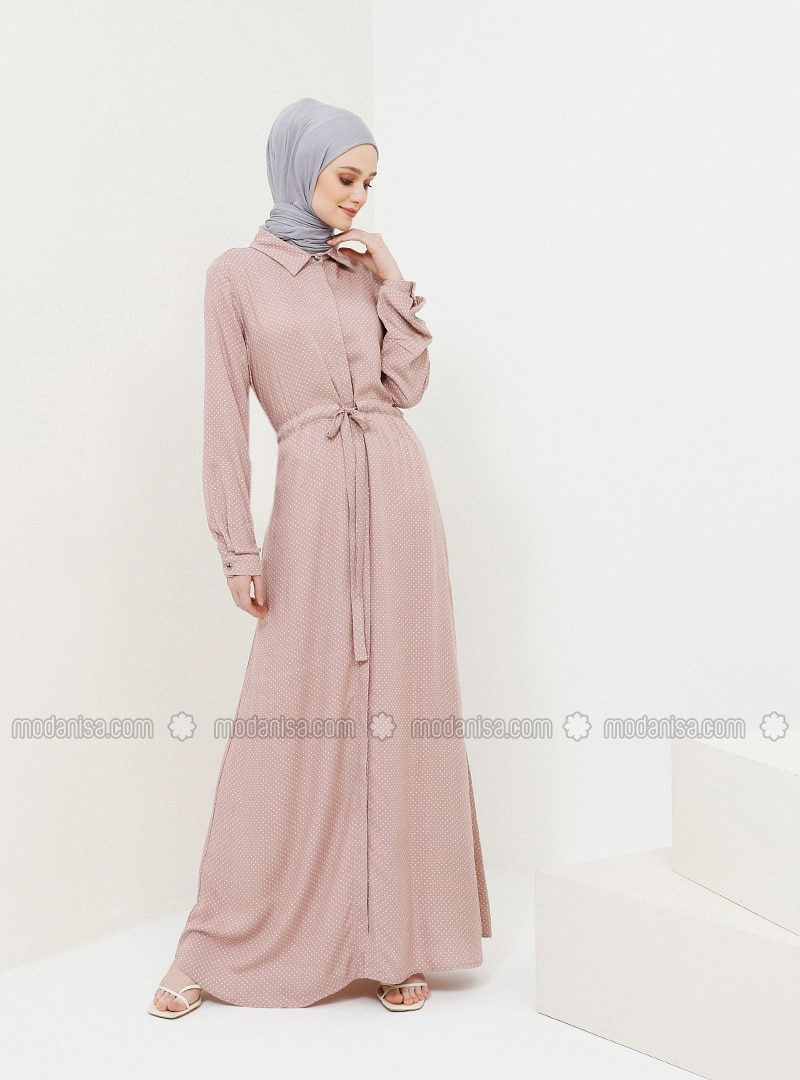 Dusty Rose - Polka Dot - Point Collar - Unlined - Viscose - Dress