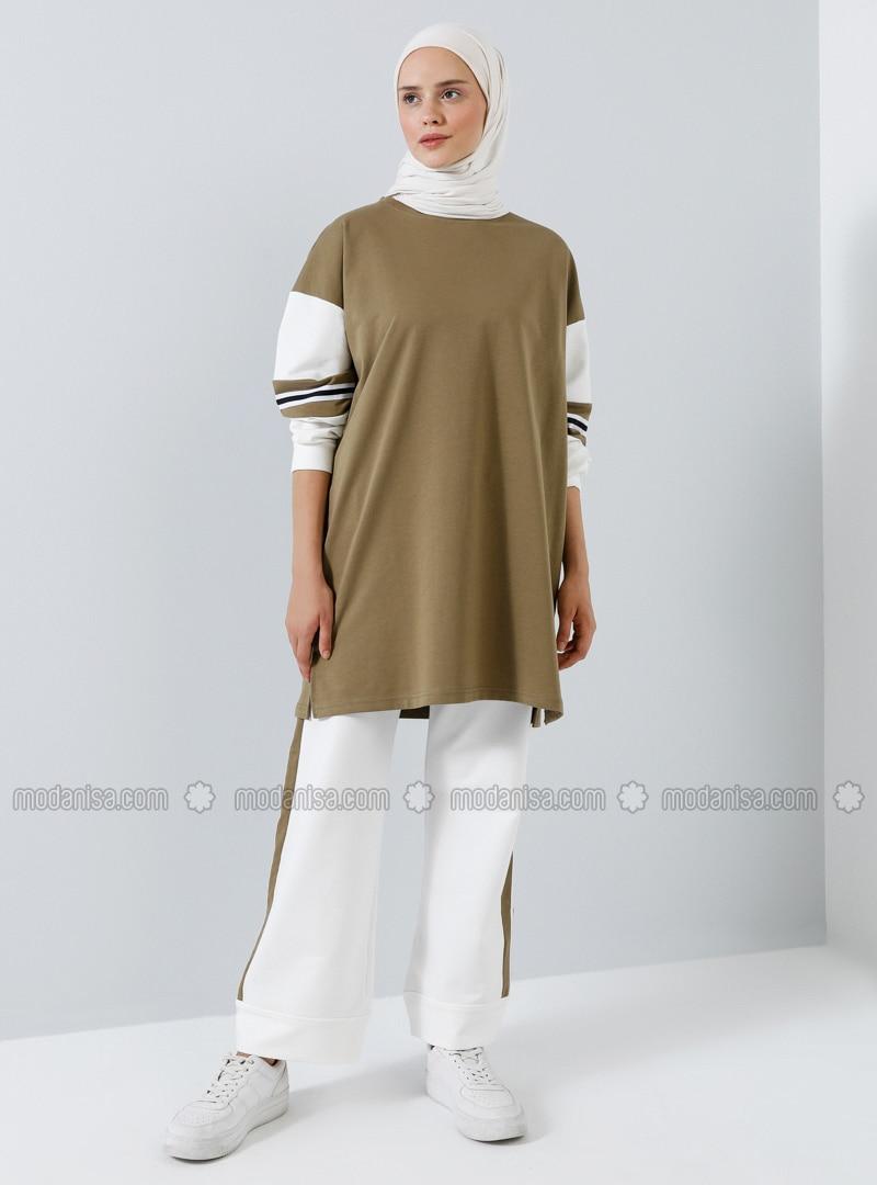 Khaki - Crew neck - Tracksuit Set