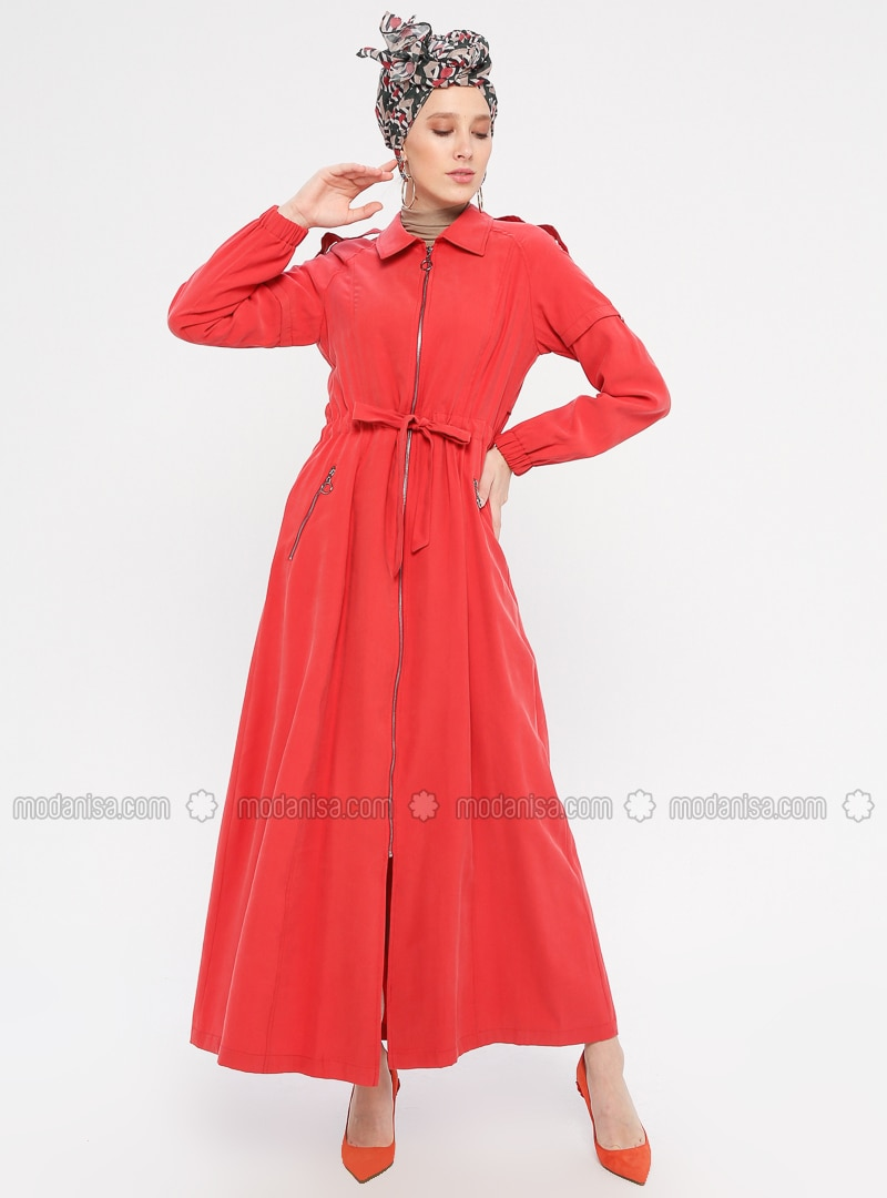 Red - Unlined - Point Collar - Rayon - Topcoat