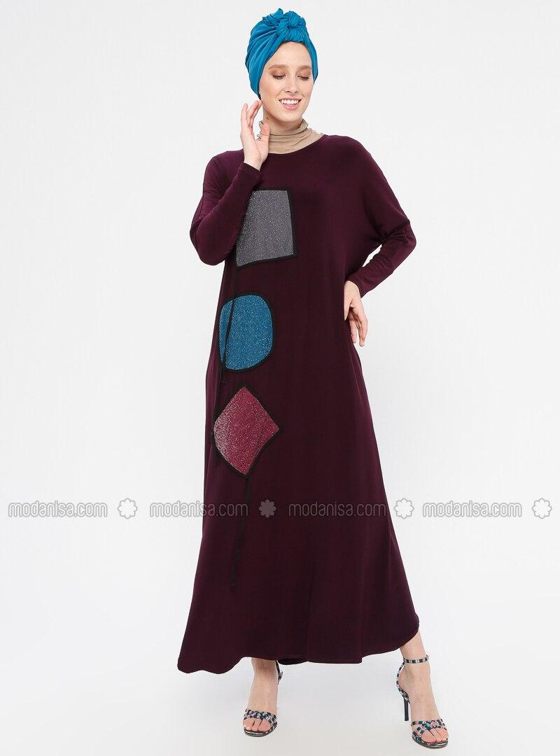 Purple - Crew neck - Unlined - Dress