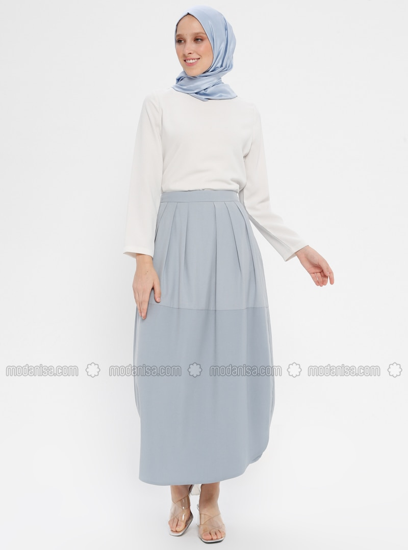 Blue - Fully Lined - Cotton - Skirt