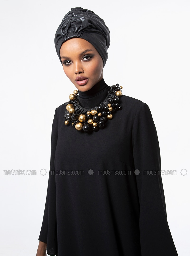Razan Turban - Black Faux Leather