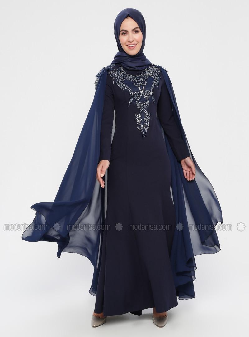 c91f102f09c83 MODANISA. Navy Blue - Multi - Unlined - Crew neck - Cotton - Muslim Evening  Dress