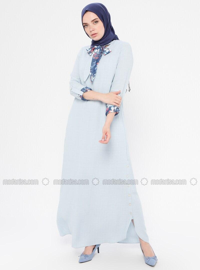 Blue - Fully Lined - Viscose - Dress