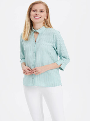 Turquoise - Girls` Shirt - DeFacto