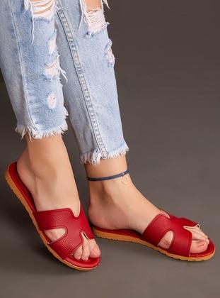 Red - Sandal - Slippers - Ayakkabı Havuzu