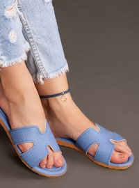 Blue - Flat - Slippers