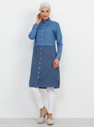 Navy Blue - Stripe - Point Collar - Cotton - Denim - Tunic