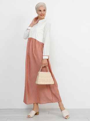- Stripe - Button Collar - Unlined - Cotton - Dress