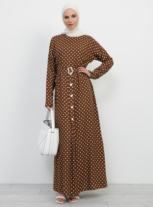 Brown - Polka Dot - Crew neck - Unlined - Viscose - Dress