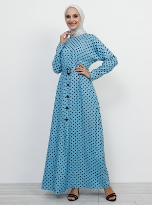 Blue - Polka Dot - Crew neck - Unlined - Viscose - Dress