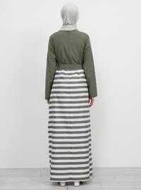 Khaki - Stripe - Crew neck - Unlined -  - Dress