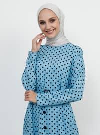 Blue - Polka Dot - Crew neck - Unlined - Viscose - Dress