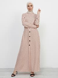 Powder - Polka Dot - Crew neck - Unlined - Viscose - Dress