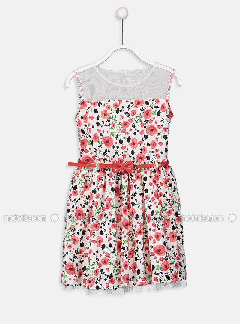 Printed - Ecru - Girls` Dress
