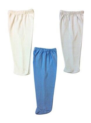 Cotton - Combed Cotton - Unlined - Blue - Ecru - Baby Pants