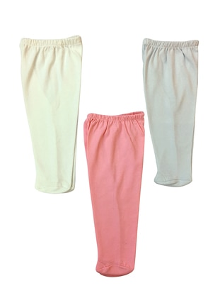 Cotton - Combed Cotton - Unlined - Pink - Ecru - Baby Pants