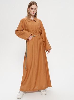 Tan - Point Collar - Unlined - Dress