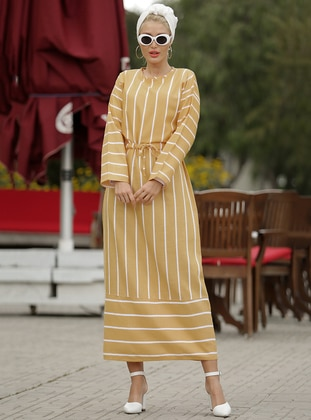 Mustard - Stripe - Crew neck - Unlined - Viscose - Dress