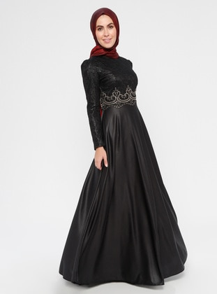 089d35ad5c6f Black - Fully Lined - Crew neck - Muslim Evening Dress