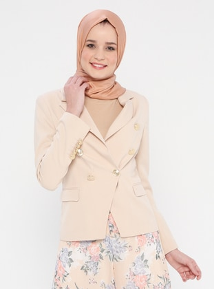 Beige - Fully Lined - Shawl Collar - Jacket