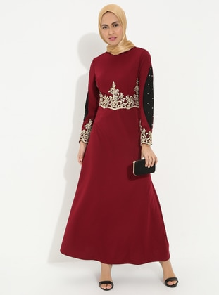 Maroon - Unlined - Polo neck - Muslim Evening Dress